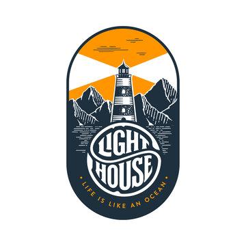 Lighthouse circle lettering oval orange Vector illustration.