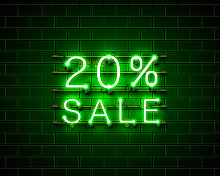 Neon 20 sale text banner. Night Sign. Vector
