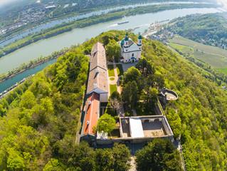 Die Burg am Leopoldsberg im Wienerwald im Frühling von oben, Wien, Österreich