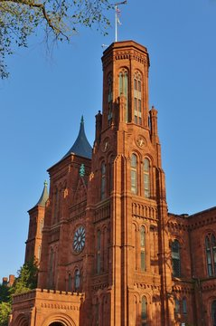 WASHINGTON, DC -6 APRIL 2019- View of the Smithsonian Institution Building (the Smithsonian Castle) near the National Mall in the nation's capital.