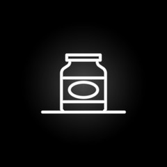 Bottle, jam, plastic container neon icon. Elements of kitchen utencils set. Simple icon for websites, web design, mobile app, info graphics