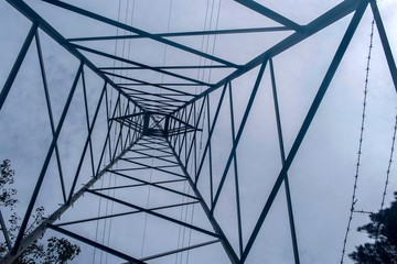 Electrical pylon tower and cables