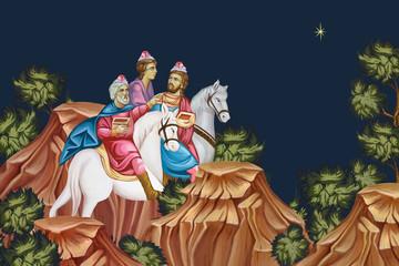 The Adoration of the Magi. Three Kings. Christmas religious illustration - fresco in Byzantine style