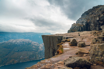 Scenic view of cliffs, rocky mountains and fjord in Preikestolen, Stavanger, Norway