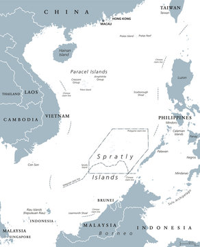 South China Sea Islands, political map. Paracel and Spratly Islands, atolls, cays and reefs. Partially claimed by China and other neighboring states. Gray illustration on white background. Vector.