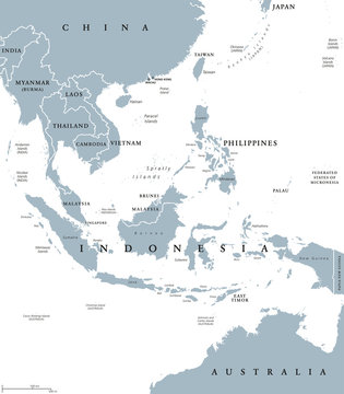 Southeast Asia, political map with borders. Subregion of Asia with countries south of China, east of India, west of New Guinea, north of Australia. Gray illustration on white background. Vector.