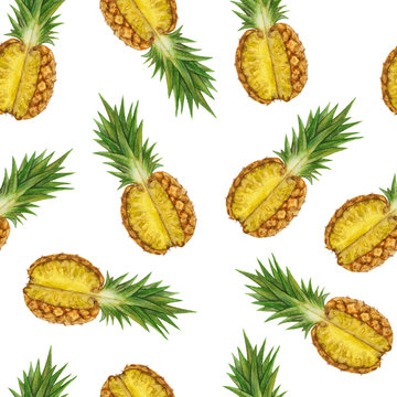 hand drawing watercolor pineapple seamless pattern on a white background