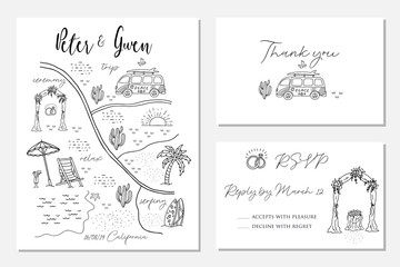 Set of wedding invitation cards with map