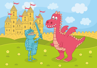Knight and dragon in a landscape with castle. Funny cartoon and vector illustration
