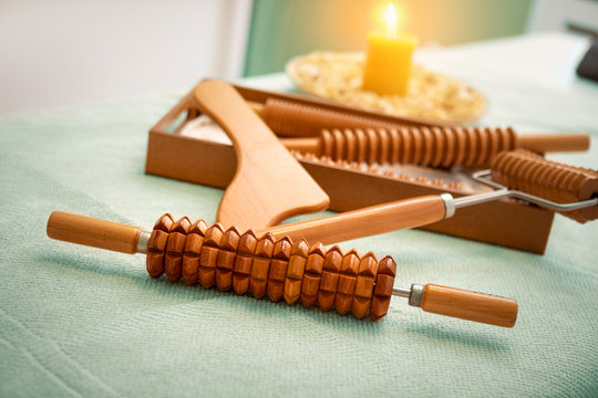 wooden massage tools for Madero therapy.
