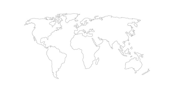 Vector Linear World Map, editable stroke. vector illustration isolated on white background.