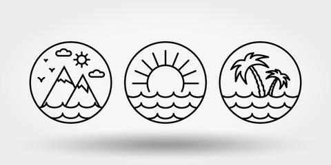 Nature, vacation, camping. Set of icons, logos .