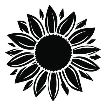 Sunflower vector illustration in black color