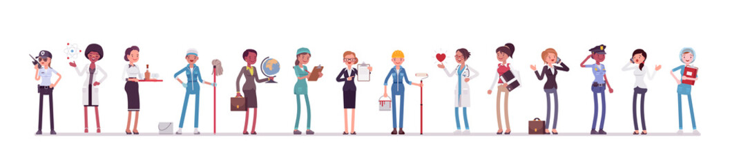Different female professions and business. Working people, women in occupation standing together, employee union, career. Vector flat style cartoon illustration isolated, white background, full length