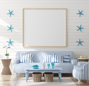 Mock up frame in home interior background, coastal style living room with marine decor,  3d render