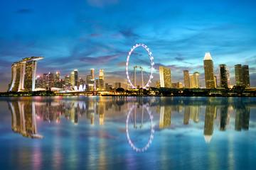 Singapore skyline and Marina Bay at dusk Fototapete