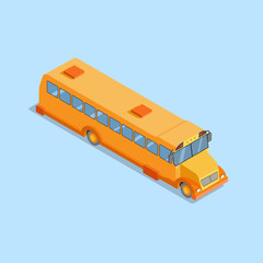 Yellow school bus isometric projection 3d. Flat vector illustration