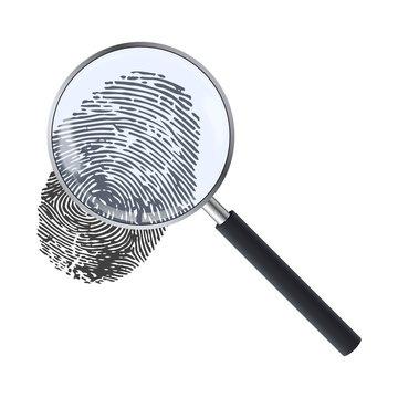 Realistic magnifying glass and fingerprint. Fingerprint under a magnifier. Template design of exploration or detection.