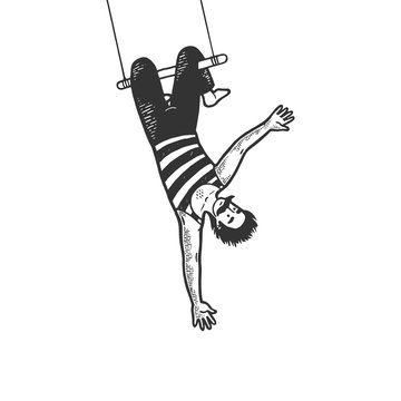 Circus acrobat hanging on trapeze performance sketch line art engraving vector illustration. Scratch board style imitation. Black and white hand drawn image.
