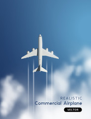 Vector Realistic Airplane Flying Through Clouds