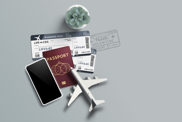 Travel plans background with a passport and airplane boarding tickets. Vector illustration