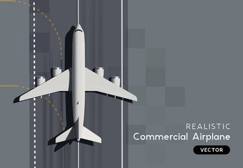 Top View Vector Passenger Commercial Airplane