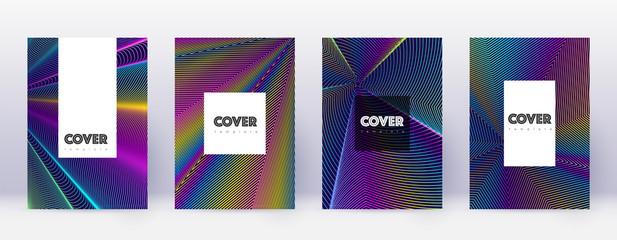 Hipster brochure design template set. Rainbow abstract lines on dark blue background. Amusing brochure design. Fantastic catalog, poster, book template etc.