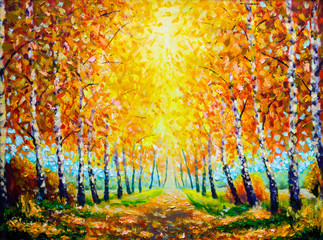 Autumn theme Painting oil - alley of autumn trees - modern art impressionism abstract landscape acrylic paint artwork