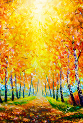 Beautiful romantic alley in a park with colorful trees and sunlight. autumn natural background Painting oil - modern art impressionism abstract landscape acrylic paint artwork