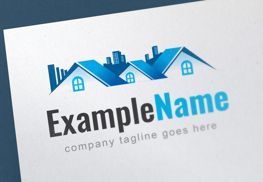 Logo Layout with Home and City Buildings