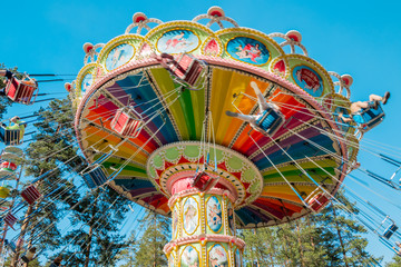 Foto op Plexiglas Amusementspark Kouvola, Finland - 18 May 2019: Ride Swing Carousel in motion in amusement park Tykkimaki