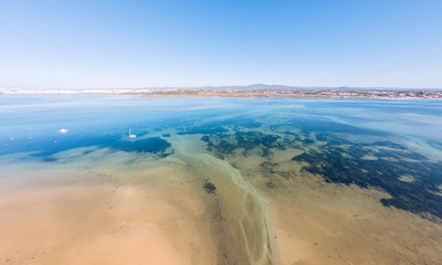 Aerial view of Ria Formosa. Armona Island, Algarve, Portugal