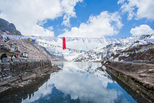 Tsomgo Lake sacred natural glacial lake on top of mountain in Gangtok,East Sikkim, India
