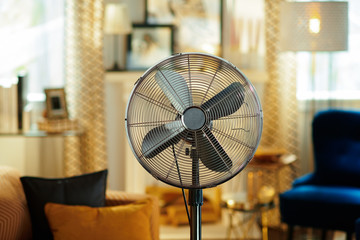 Closeup on electric floor standing fan
