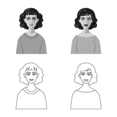 Vector design of hairstyle and profession  logo. Collection of hairstyle and character  stock vector illustration.