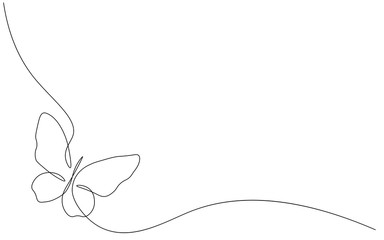 Butterfly isolated one line drawing vector illustration