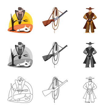 Isolated object of texas and history logo. Collection of texas and culture stock vector illustration.