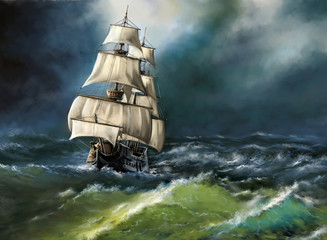 Fotorolgordijn Schip Old ship in the sea. Digital oil paintings landscape. Fine art.