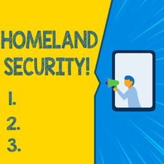 Word writing text Homeland Security. Business photo showcasing federal agency designed to protect the USA against threats Isolated geometrical background man chest holding megaphone speech bubble