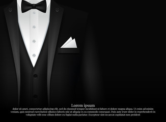 Black Suit and Tuxedo with bow tie Fotobehang