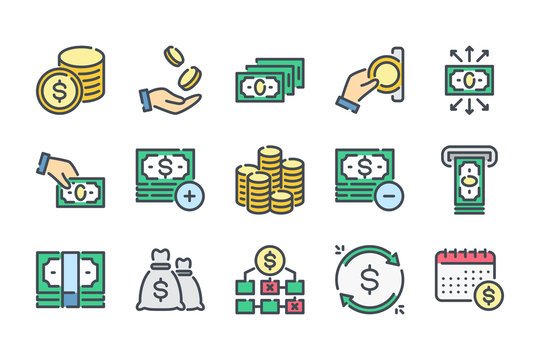 Money related color line icon set. Bank and finance colorful linear icons. Dollar and payment flat color outline vector sign collection.