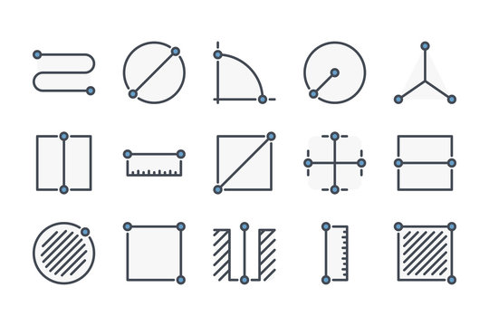 Measure related color line icon set. Length and size colorful linear icons. Distance metric flat color outline vector sign collection.