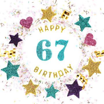 "Postcard square format with the inscription ""happy 67th birthday"", stars, glitter, serpentine.."