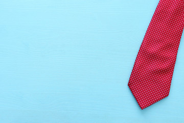 Father's day concept. Necktie over wooden background. top view, flat lay