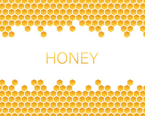 Honeycomb monochrome honey pattern. Vector stock illustration.