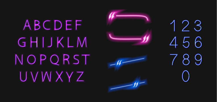 Vector Neon Quote Frame and Glowing Font, Letters and Numbers Isolated on Dark Background, Blue and Violet Colors.