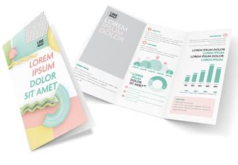 Memphis Style Futuristic Pastel 3D Trifold Brochure Layout