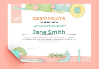 Memphis Style Certificate Layout with Pastel 3D Geometric Elements