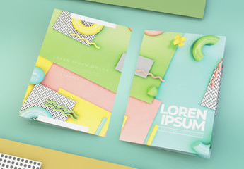 Bifold Brochure Layout with Pastel 3D Geometric Elements