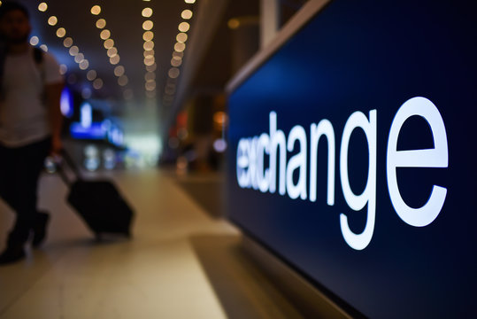 point of currency exchange in airport terminal